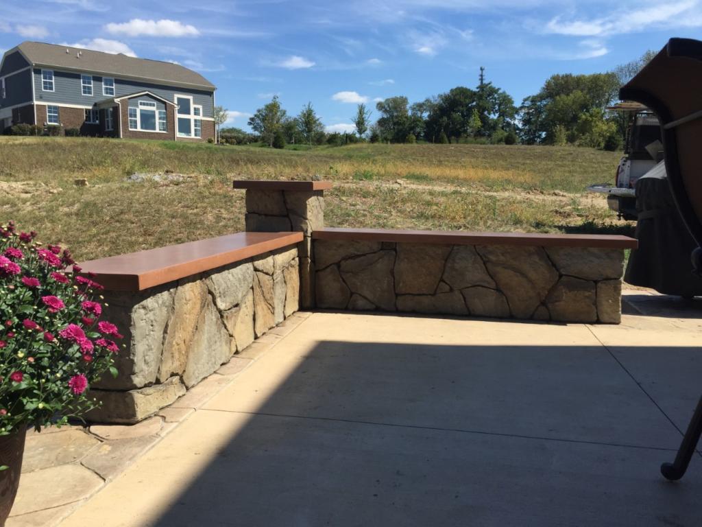 Concrete retaining walls/seat walls